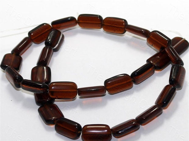 Fire Polished Brown Square Glass Beads
