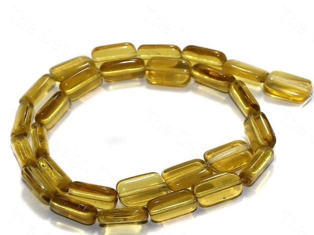 Fire Polished Yellow Square Glass Beads