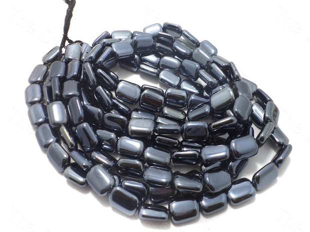 Fire Polished Grey Square Glass Beads