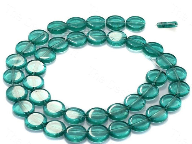Fire Polished Teal Disc Glass Beads
