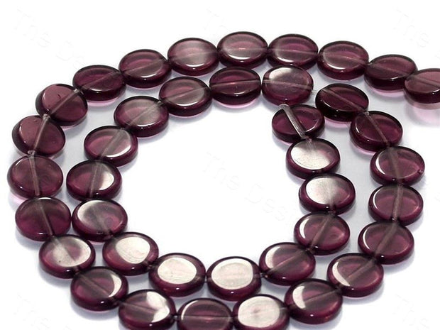 Fire Polished Purple Disc Glass Beads