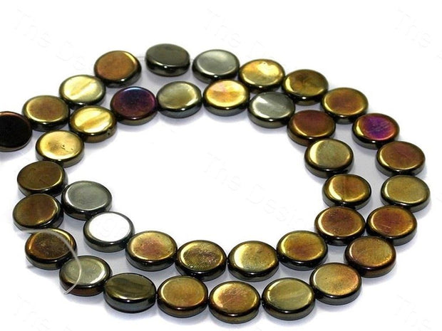 Fire Polished Golden Disc Glass Beads