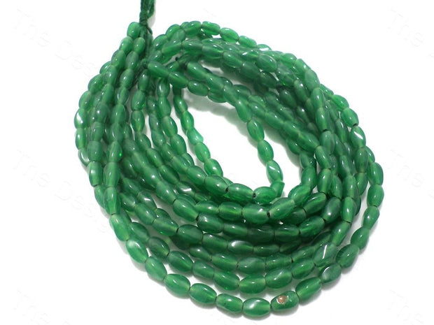Fire Polished Green Oval Glass Beads