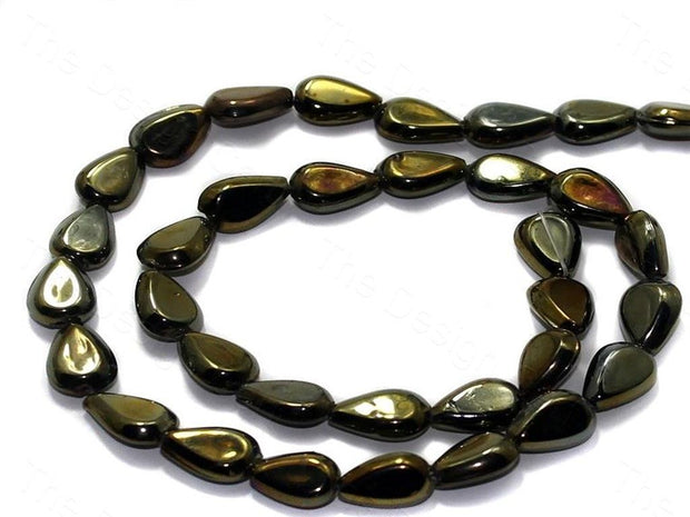 Fire Polished Golden Flat Glass Beads