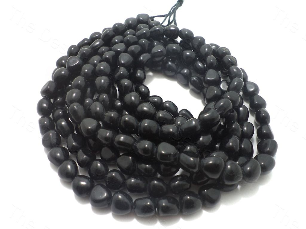 Black Tumble Glass Beads