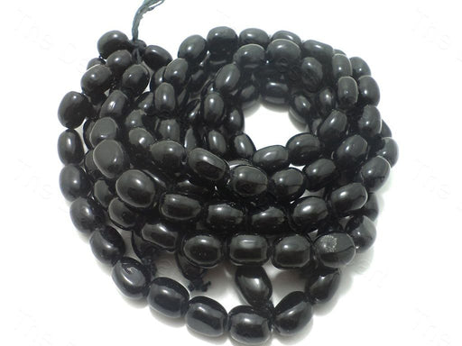 Black Oval Glass Beads