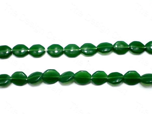 Fire Polished Green Octa Glass Beads