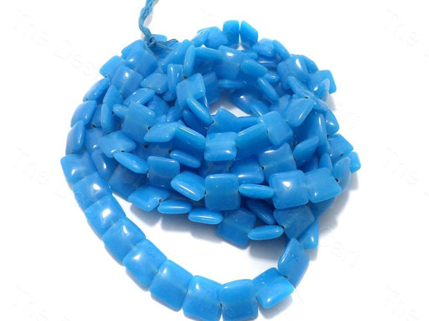 Fire Polished Blue Square Glass Beads