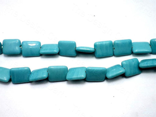 Fire Polished Turquoise Square Glass Beads