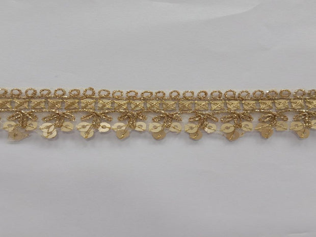 Light Golden Sequins Work Embroidered Border