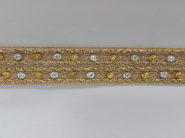 Golden Silver Stone Gota Work Embroidered Border