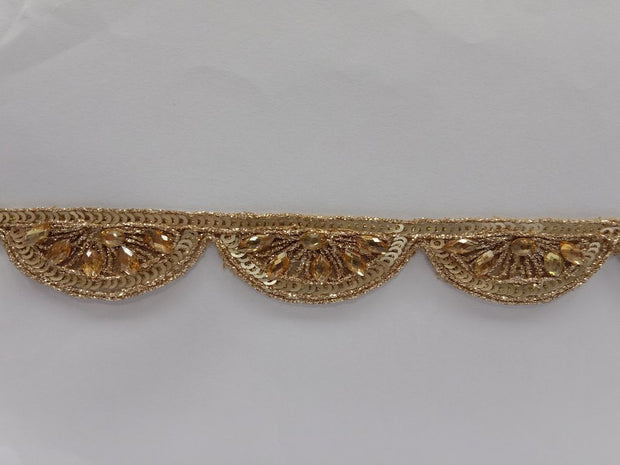 Golden Stone Work Designer Net Embroidered Border