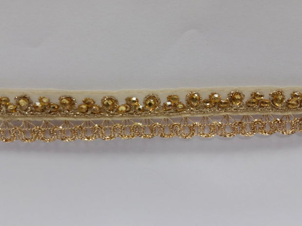 Golden Fancy Stone Work Organza Embroidered Border
