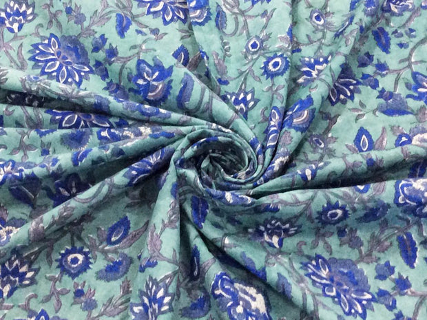 Pale Green Blue Flowers Block Printed Cotton Fabric