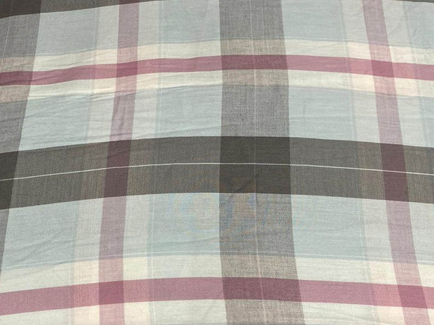 Pastel Blue Gray Pink Yarn Dyed Checks Printed Cotton Fabric