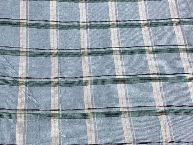 Pastel Blue Green Black Yarn Dyed Checks Printed Cotton Fabric