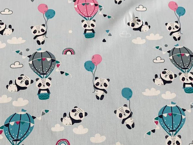 Pastel Blue Pandas Printed Poplin Cotton Fabric
