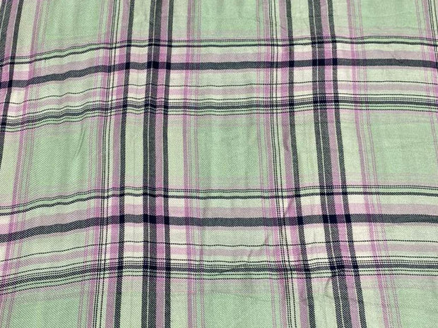 Pastel Green Pink Yarn Dyed Checks Printed Cotton Fabric