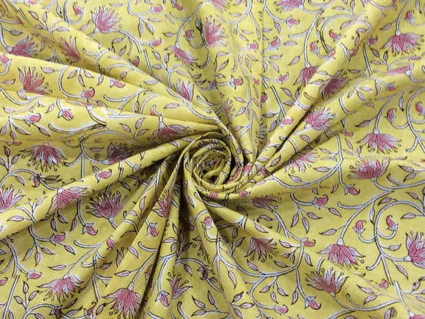 Pastel Yellow Pink Flowers Block Printed Cotton Fabric