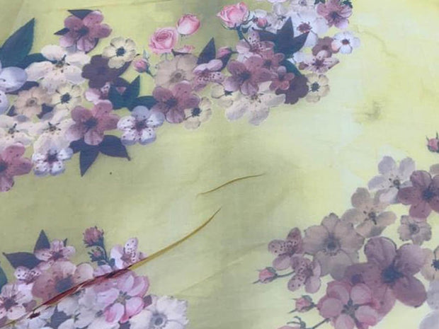 Pastel Yellow Purple Flowers Printed Organza Fabric