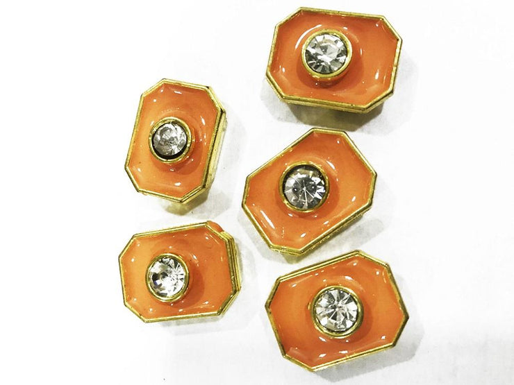 Peach Brown Enamel Fill Octagonal CCB Show Buttons (20x15 mm) (4503171170373)