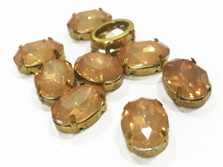 Peach Brown Opal Oval Resin Stones with Catcher (18x13 mm) (4541105733701)