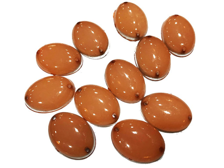 Peach Brown Oval Opaque Opal Plastic Rubber Stones (18x13 mm) (4504729354309)