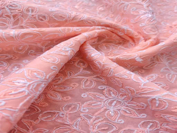 Peach Pink Thread and Sequins Flowers Chikankari Embroidered Cotton Fabric