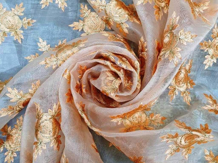 Peach Floral Embroidered Organza Fabric