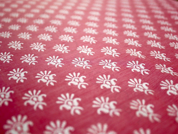 Pink Floral Design Polyester Chanderi Fabric