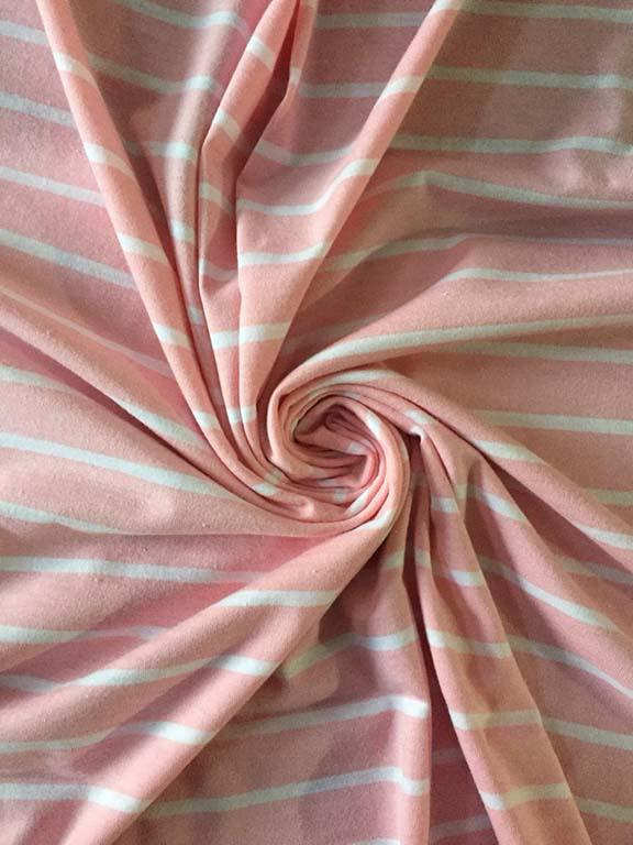 Pink And White Stripes Sinker Cotton Fabric