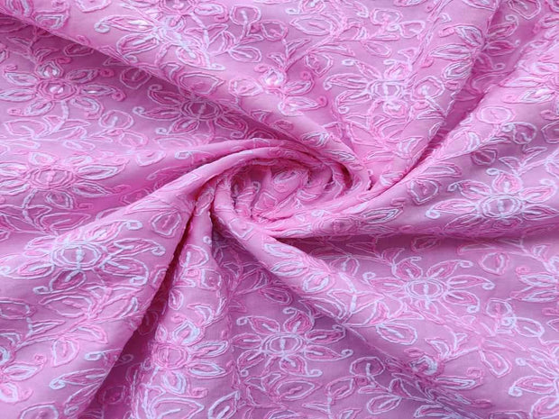 Pink Thread and Sequins Flowers Chikankari Embroidered Cotton Fabric