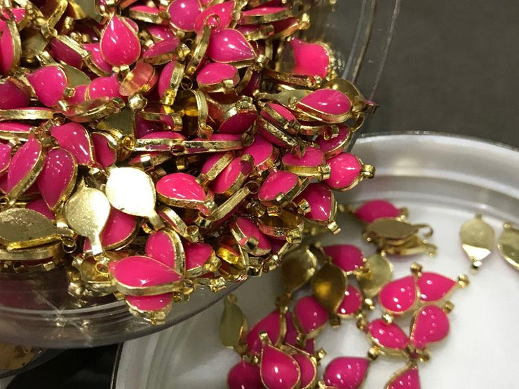 Pink Drop Metal Kundan Stone (With Enamel- 12x6 mm) (4522929193029)