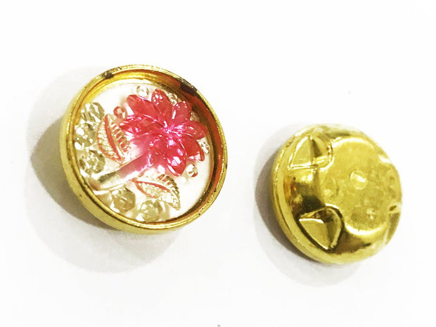 Pink Flower Golden Frame Circular Plastic Show Button