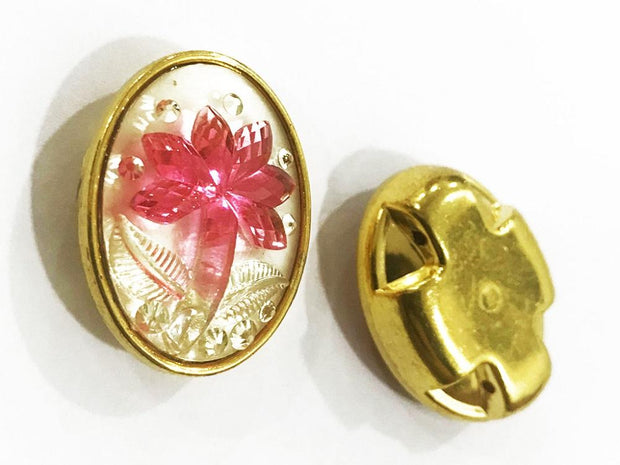 Pink Flower Golden Frame Oval Plastic Show Button (25x18 mm)