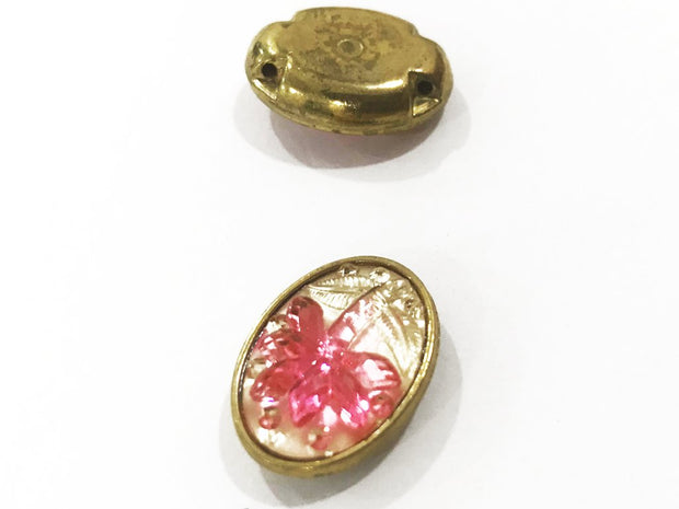 Pink Flower Golden Frame Oval Plastic Show Button