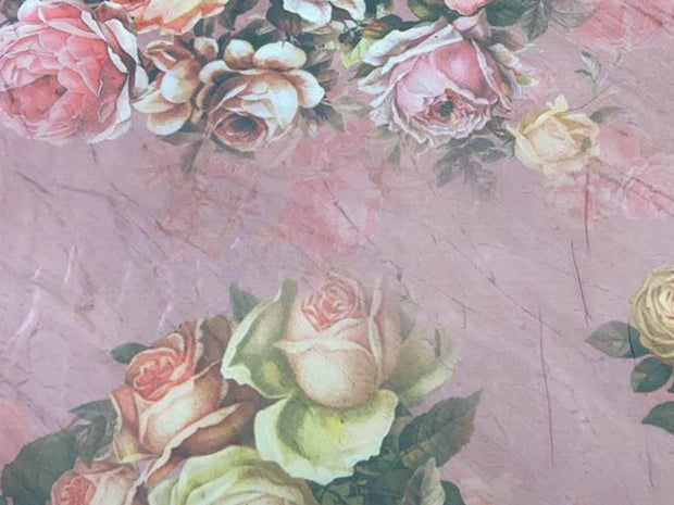 Pink Flowers Printed Organza Fabric