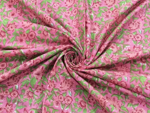Pink Green Flowers Block Printed Cotton Fabric