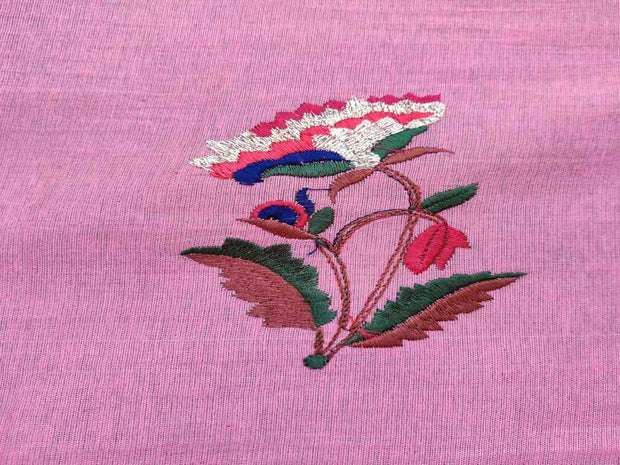 Pink Embroidered Flowers Cotton Jute Fabric | The Design Cart