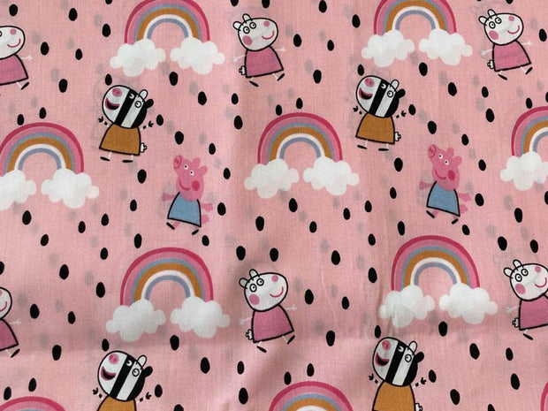 Pink Pigs and Rainbow Printed Poplin Cotton Fabric