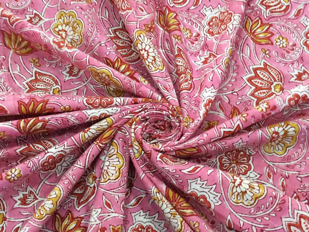 Pink Red Flowers Block Printed Cotton Fabric