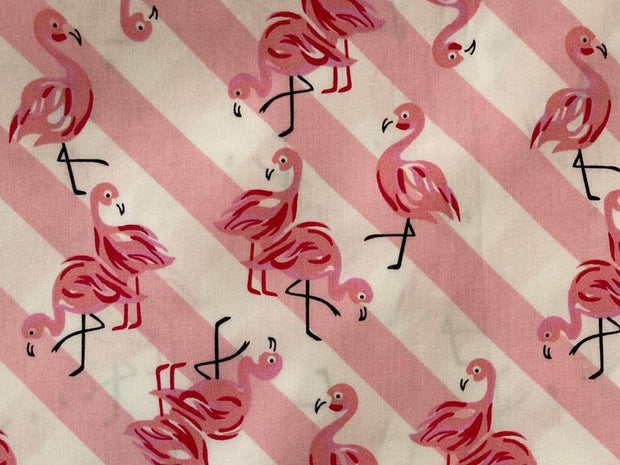 Pink White Flamingo and Stripes Printed Poplin Cotton Fabric