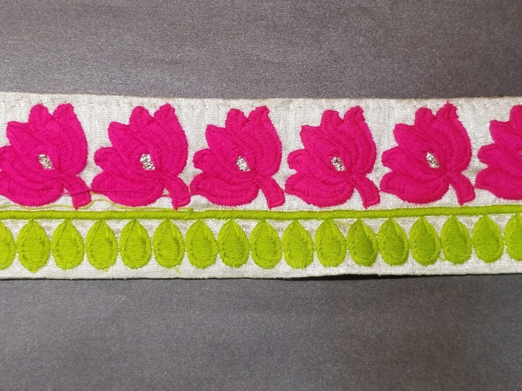 Pink Green Flowers Thread Work Embroidered Lace Border