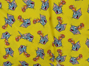 Precut 0.5 Meter Yellow Cartoon Printed Rayon Fabric
