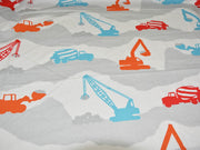 Precut 1 Metre Light Gray Multicolour Trucks Printed Poplin Cotton Fabric