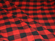 Precut 2.5 Metre Red Black Checks Yarn Dyed Printed Pure Cotton Fabric