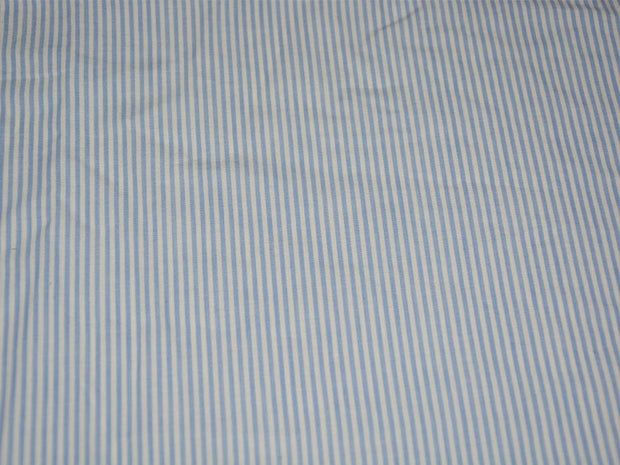 Precut 2 Metres White Blue Stripes Yarn Dyed Pure Cotton Fabric