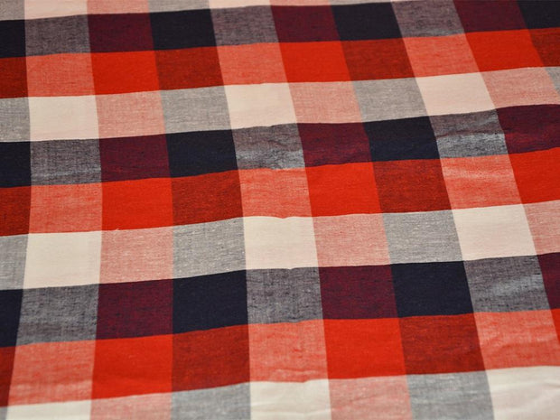 Precut 2.5 Metre Red Blue Checks Printed Yarn Dyed Pure Cotton Fabric