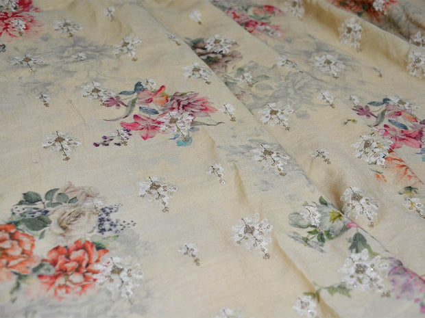 Precut 3 Metre Beige Floral Thread & Sequins Embroidered Monga Silk Fabric