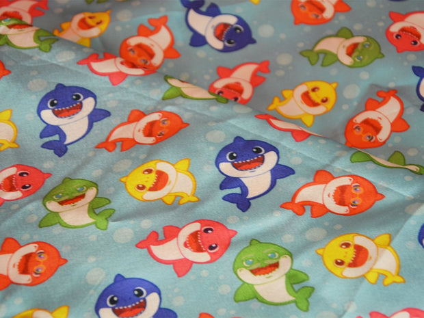 Precut 3.1 Metre Blue Multicolour Fishes Printed Satin Fabric